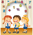 Boy and girls in school uniform vector image vector image