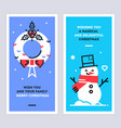 christmas and new year linear cards set vector image