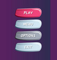 colorful game options panel isolated set vector image