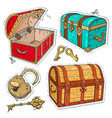 colorful sticker set old pirate chests with lock vector image