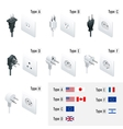 Electrical Plug Types Type A Type B Type C vector image