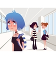 Sad lonely girl looking at two school friends vector image