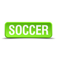 Soccer green 3d realistic square isolated button vector image