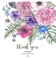 Vintage floral greeting card with anemones vector image