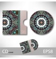 CD cover design template with ukrainian ethnic vector image