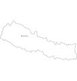 Black White Nepal Outline Map vector image