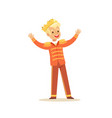 Cute little blonde boy wearing a prince costume vector image