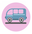 Digital blue bus icon on pink circle vector image