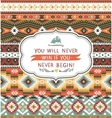 Ethnic print pattern background vector image