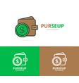 wallet logo unique purse and bank vector image