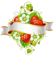 ripe strawberry and ribbon vector image vector image