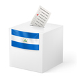 Ballot box with voting paper Nicaragua vector image vector image