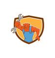 Bulldog Mechanic Holding Spanner Shield Cartoon vector image vector image