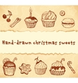 Isolated bakery hand-drawn set vector image