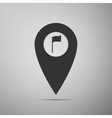 Map marker with a golf flag icon on grey vector image