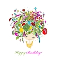 Female portrait with floral hairstyle for your vector image