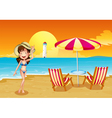 A girl at the beach across the lighthouse vector image vector image