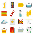 laundry icons set in flat style vector image