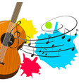 wooden guitar with music notes in background vector image vector image
