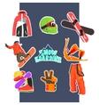 Snowboarding Icon Set vector image
