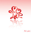 Valentines Day card with hearts and word LOVE vector image