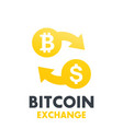 Bitcoin to dollar exchange symbol vector image