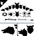 Boar Hunter Heads set vector image
