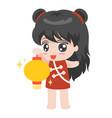 cartoon chinese girl with lantern vector image