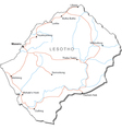 Lesotho Black White Map vector image