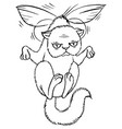 sly cartoon cat flying on wings vector image