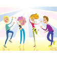 Happy young people dancing vector image
