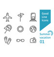 summer vacation outline icons set 01 vector image