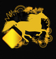 grunge tshirt effect with horse silhouette vector image vector image