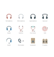 Headphones color icons on white background vector image