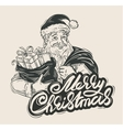 Merry Christmas Cheerful Santa Claus holding a vector image vector image