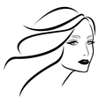 Beautiful young lady with wavy hair vector image