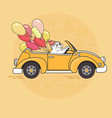 cute white bear with balloons in yellow toy car vector image