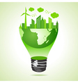 Eco earth concept with green cityscape vector image