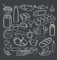 food doodles collection white chalk on a vector image