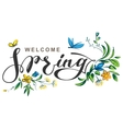 Welcome spring lettering text vector image