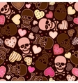 seamless pattern with skull and sweetmeat in form vector image vector image