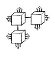 figure squares digital connections with circuits vector image