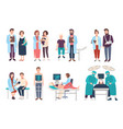 set of doctors and patients in polyclinic vector image