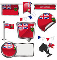 glossy icons with flag of province ontario vector image