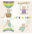 Baby Bear Set - Baby Shower or Arrival Card vector image vector image