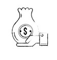 figure businessman with bag cash money in the hand vector image