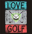 Golf love black shirt vector image