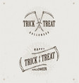 Halloween trick or treat logos vector image
