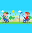 wheelchair tennis match vector image