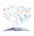 Open book education concept doodle vector image vector image